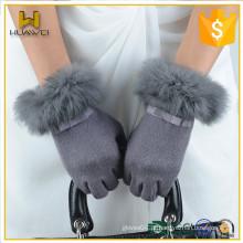 Cheap quente vender Womens Touch Screen Wool Luvas com pele de coelho