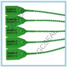 Sello de seguridad plástico con código de barras y número de serie GC-P001