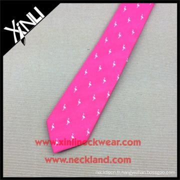 Cravates tissées en soie rose flamant rose pour homme