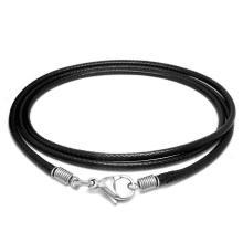 Schwarzes Leder geflochten Halskette Männer & Frauen Mode-Accessoires