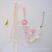 Colar de borla de flor de pérola fresca de moda