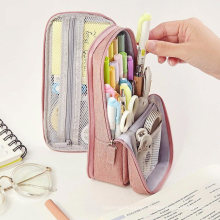Wholesale Multi-Funtion Zippered Soft Stand up School Stationery Pouch Pencil Case Bag