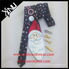 Natal impresso da gravata do pescoço do poliéster da tela