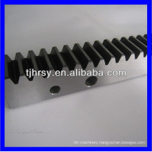 Steel hardened gear rack with mounting holes