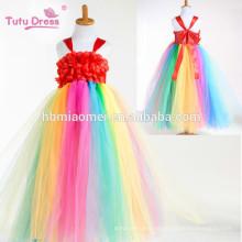 Vestido del tutú de niña de las flores del arco iris Vestido largo de las muchachas de princesa Tulle para el banquete de boda del cumpleaños Festival del traje de Halloween de los cabritos