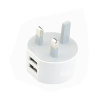 White Color Dual USB Wall Charger with UK Plug