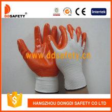 13 Gauge Orange Nitril weiß überzogene Handschuhe Dnn334