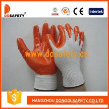 Gants enduits de nitrile orange de calibre 13 orange-Dnn334