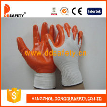 13 Gauge Orange Nitrile White Coated Gloves-Dnn334