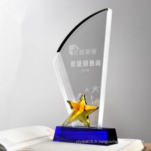 Pièces bon marché en gros de trophée en verre d'étoile en cristal pour le souvenir