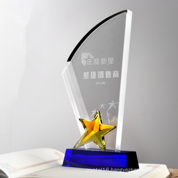 Wholesale Cheap Crystal Glass Star Trophy Parts for Souvenir