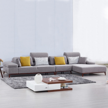 Grå Tyg Höger Facing Chaise Sectional Soffa