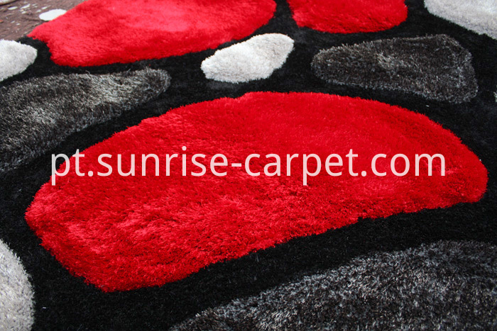 3D Shagy Rug with Modern Design Red & Black Color