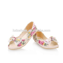 Flower Print Canvas Flats Fashion Sweet Bow Shoes For Women Casual Dress Summer Peep Toe Flats Shoes