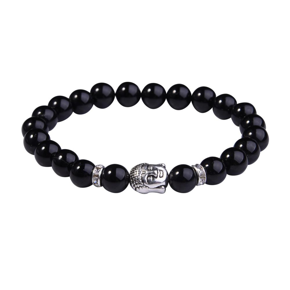 Black Onyx 8MM Gemstone Buddhism Prayer Beads Bracelets