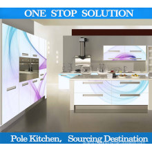 Pole L Shape Glass Kitchen Cabinet