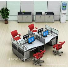 Diseño abierto Cubierta pequeña de oficina de oficina de 4 plazas con gabinete (HF-YZQ515)
