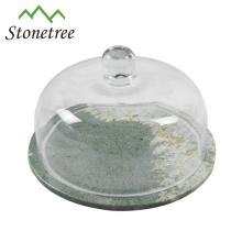 Tabla redonda de queso con base de mármol y cubierta de vidrio