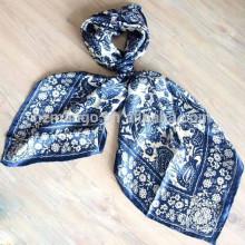 Silk charmuse square scarf digital printing