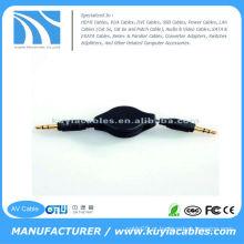 3,5 milímetros estéreo macho para macho retrátil cabo de extensão de áudio para mp3 ipod iphone