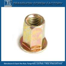 Color zinc galvanizado M8 * 22 hexagonal cuerpo remache tuerca