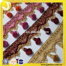 colorful polyester pompom fringe in stock
