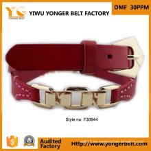 Nuevo diseño cinturón de cintura de metal dorado para mujer