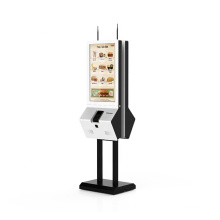 Fast food self-service payment touch screen kiosk with printer