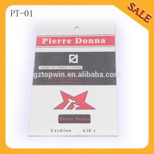 PT01 insignia grabada en relieve de la etiqueta de la mano del papel de la alta calidad de la ropa, precio impreso que cuelga la etiqueta