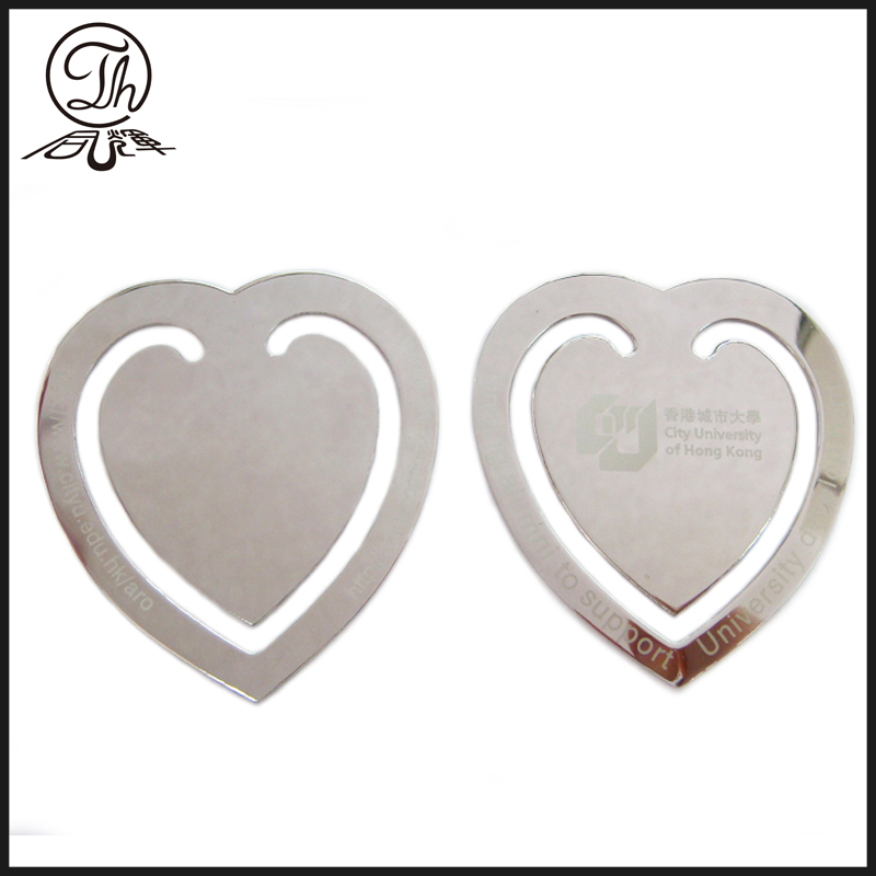 Customized engraved heart bookmarks wholesale