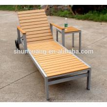 All weather beach teak sun lounger garden chaise lounge