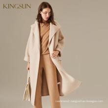 Ladies' Cream Wool Knitted Cardigant Batwing Sleeve Turn-down Collar Hoodie Sweater