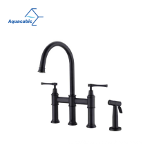 Aquacubic Cupc Lead Free Brass High Arc Bridge Kitchen Faucet with Side Spray Kitchen Faucet