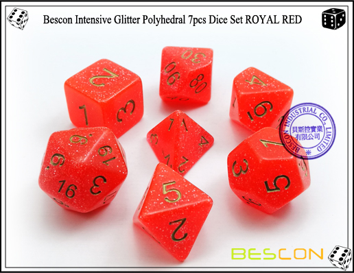Bescon Intensive Glitter Polyhedral 7pcs Dice Set ROYAL RED-2
