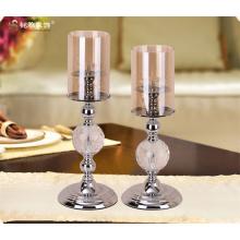 Suporte de vela carrinho de vela de cabeça única e suporte de vela de metal e vidro à venda
