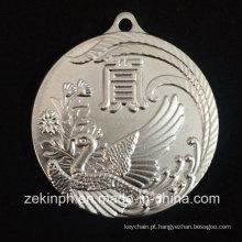 Metal de design personalizado gravar medalha de phoenix