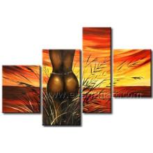 Pintura a óleo africana handmade da arte de 100% para a sala de visitas (AR-155)