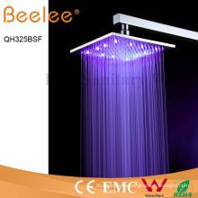 Cabezal de ducha de lluvia LED autoamplificada de níquel cepillado de acero inoxidable cuadrado 304 de 12 pulgadas