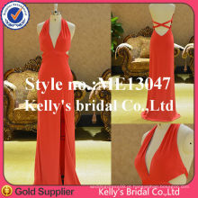 Sexy design Deep V front backless fenda vestido vestido de noite de peixe-cola