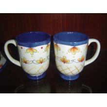 Taza esmaltada taza pintada a mano de cerámica