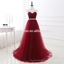 Großhandel Rotwein Farbe Toast Anzug Falten Rüschen Puffy Chiffon Trägerlose Formale Mixi Abendkleid Frauen Für Braut