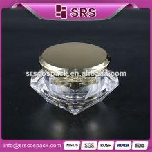 Eco Friendly Récipients cosmétiques 15g 30g 50g et Unique Diamond Shape Cosmetic Suppliers China Acrylique Cosmetic 5 gram jar clear