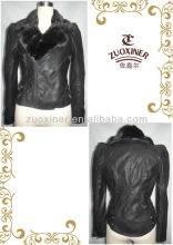 Side fly open women PU leather jacket with fur collar