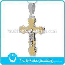 Venta al por mayor Dos tonos pesado oración Jesús acero inoxidable 316 católica San Benito Cruz colgante para rosario