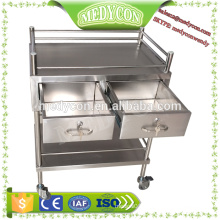 two drawers stainless steel hospital crash cart  trolley