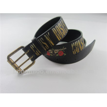 Men's black cowhide leather printed belts with double pin buckle