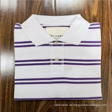 Gestreiftes Kurzarm-Revers-Polo-T-Shirt aus Polyester-Baumwolle