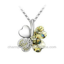 "Fashion New Crystal Four Leaf Clover Pendant Necklace 18"" PE002B"
