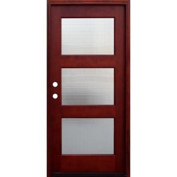 3 Lite Cross Reed Stained Mahogany Wood Prehung Front Door