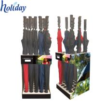 Dauerhafter Raum-Retter-Pappregenschirm-Ausstellungs-Halter-Stand, neuer Design Boden-Stand-bunter Annehmlichkeits-Regenschirm-Stand
